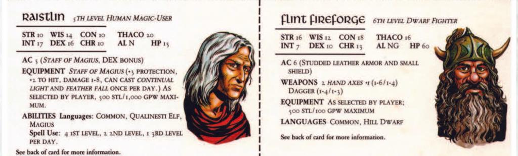 דמויות מתוך רומח הדרקון, עם התכונות שלהם במשחק מבוכים ודרקונים